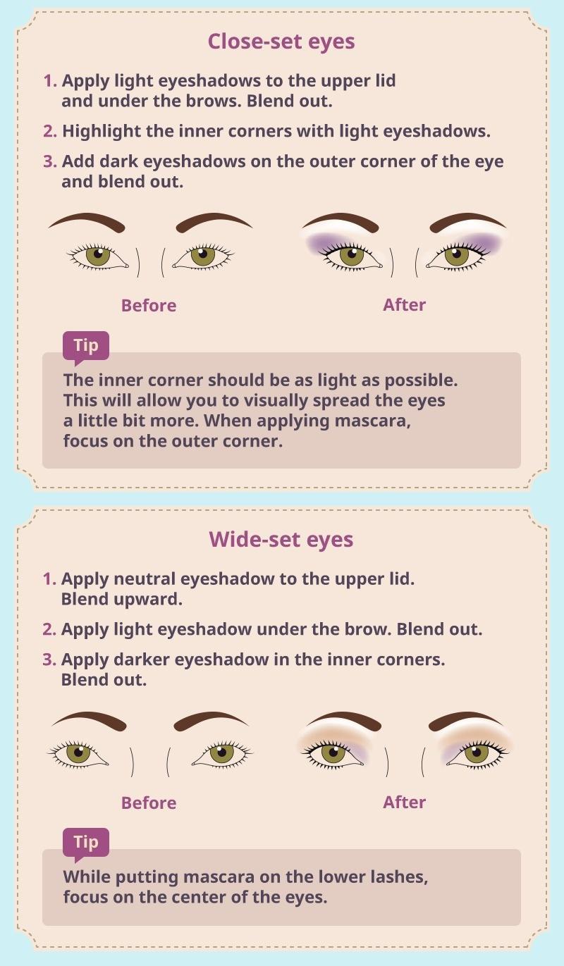 Apply makeup on close- set eyes face