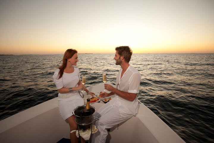Beautiful Sunset at Goa and a Yacht