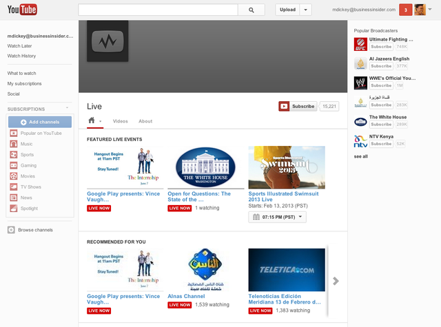In April 2011, YouTube started Live Streaming.