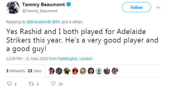 Tammy Beaumont and Rashid Khan